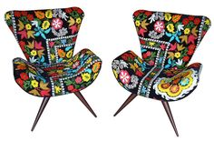 suzani covered upholstered design chairs, bohemian feel, colourful, unconventional, fun furniture