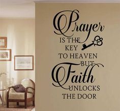 Christian Wall Decal Prayer is Key Faith Unlocks, Religious Vinyl Wall Lettering, Bible Quote for Home Decor, Inspirational Scripture Verse Prayer Wall, Prayer Room, Vinyl Wall Decals, Wall Stickers, Wall Decal Quotes, Vinyl Wall Sayings, Inspirational Wall Decals, Living Room Quotes, Christian Wall Decals
