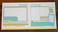 """12x12 Premade Baby Scrapbook Layout (2 Pages) """"Welcome Little One"""""""