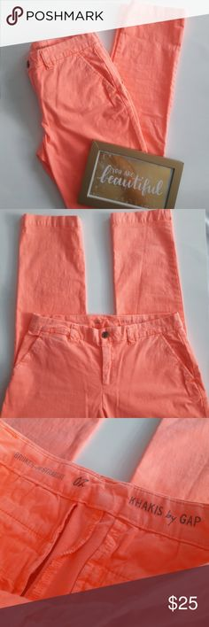 "Gap Orange Broken in Straight Khakis Size 2 Broken in Straight Khakis by Gap in size 2. Color is a bright orange/coral - super adorable! EUC.   This is a used item: it has been inspected for wear and quality.   Bundle + SAVE! Offers are welcome :)  29"" inseam, 15"" across the waist, 6"" at the leg opening. Material is 97% cotton and 3% spandex. GAP Pants Straight Leg"