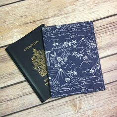 Handmade passport sleeve by featuring Monteverde fabric by Hawthorne Threads
