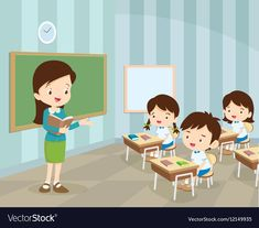 Young teacher and students in classroom vector image on VectorStock Teacher and student images Teachers illustration Teacher picture