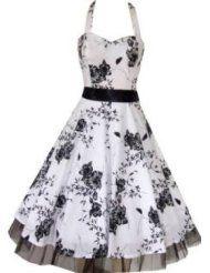 Pretty Kitty Fashion 50s Weiß Schwarz Blume Neckholder Cocktail Kleid