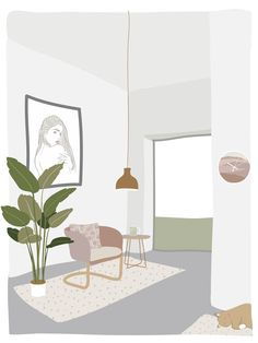 My Dream Living Room in my Dream House Throw Pillow by Design by Cheyney - Cover x with pillow insert - Indoor Pillow Interior Design Vector, Interior Design Sketches, Design Poster, Design Art, Flat Illustration, Digital Illustration, Collage Architecture, Architecture Visualization, Dream House Interior