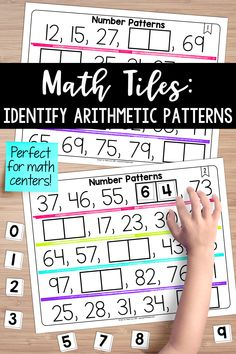 These math tiles will help your students identify, generate, and analyze arithmetic patterns. Students must place 10 number tiles on the Time to Tile cards to complete a variety of number patterns. This activity is perfect for math centers. Teaching Place Values, Teaching Numbers, Math Numbers, Teaching Math, Teaching Ideas, First Grade Math, Fourth Grade, Third Grade, Grade 2