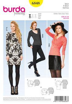 T-Shirt / Dress, Burda 6848 - Tops & Blouses Sewing Patternsfavorable buying at our shop Burda Sewing Patterns, Dress Patterns, Style Patterns, Sewing Ideas, Clothing Patterns, Sewing Projects, Plain Dress, Sewing Clothes, Diy Clothes
