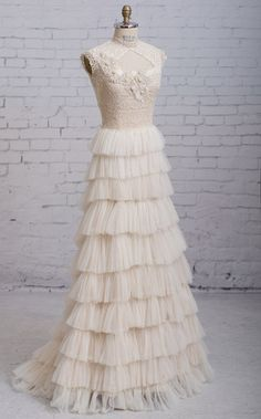 """Handcrafted with precision, the """"Alexandra"""" is a modern vintage wedding gown with an edgy, Steampunk style. The unique bodice is scrupulously crafted with delicate, sui generis antique laces, ornate h"""