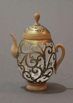 Larisa Safaryan Golden Teapot Goose egg shell  For more information, please visit www.woodsymphony.com