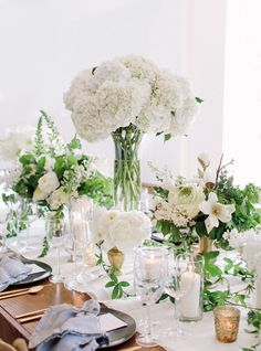 Gorgeous white blooms placed at various heights. Styled by: @Beth Helmstetter