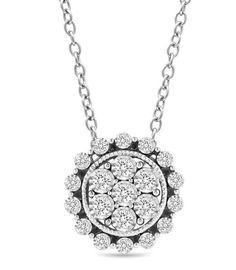 Zales 1/6 CT. T.w. Composite Diamond Filigree Vintage-Style Necklace in Sterling Silver C5EZnwM2m