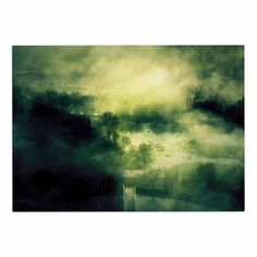 KESS InHouse 888 Design 'Dark Mystical Landscape ' Green Black Dog Place Mat, 13' x 18' * Tried it! Love it! Click the image. : Dog food container