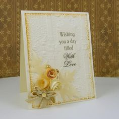 Ivory Embossed Wedding Card with SRM stickers and Spellbinders M-Bossibilities 3d embossing folder