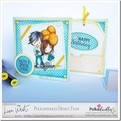 Party Little Dude and Balloon Days from Polkadoodles Tiddly Inks, Pink Cards, Spectrum Noir, Alcohol Markers, Digi Stamps, Happy Friday, I Card, Fun Crafts, Balloons