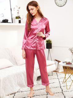 Shop Contrast Binding Satin Shirt & Pants Pj Set at ROMWE, discover more fashion styles online. Satin Sleepwear, Satin Pyjama Set, Satin Shirt, Satin Pajamas, Nightwear, Pyjamas, Pajama Set, Pink Silk Pajamas, Satin Blouses
