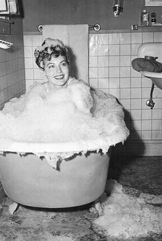 Ava Gardner enjoying a bubble bath in a scene from 'One Touch of Venus', 1948.