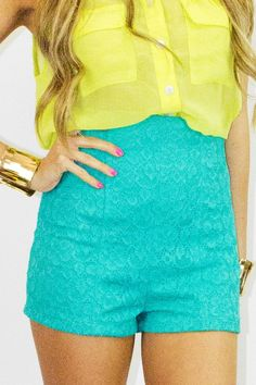 Bright colours  Love it  Now I need to find a place where they sell high waist shorts in this amazing turquoise colour