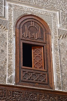 A window of the Al-Attarine Madrasa in Fez, Morocco  View more intricate details: http://islamic-arts.org/2013/al-attarine-madrasa-in-fez-morocco/ Window by Mike Prince, via Flickr