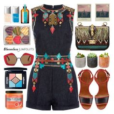 """All-in-One: Sleeveless Jumpsuits"" by barbarela11 ❤ liked on Polyvore featuring Shop Succulents, Marni, Valentino, Christian Dior and Moroccanoil"