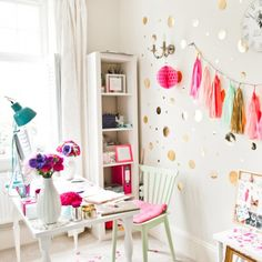 The most beautiful home office! pinks, gold and glitter make a fun and pretty work environment for stylist Sundari