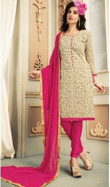 Chanderi Silk Fabric Casual Daily Wear Churidar Kameez in Beige Color | FH514578311 , #casual, #salwar, #kameez, #online, #trendy, #shopping, #latest, #collections, #summer,#shalwar, #hot, #season, #suits, #cheap, #indian, #womens, #dress, #design, #fashion, #boutique, #heenastyle, #clothing, #cotton, #printed, #materials, @heenastyle