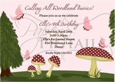Woodland Fairy Printable Invitation by PaperandPigtails on Etsy, $15.00