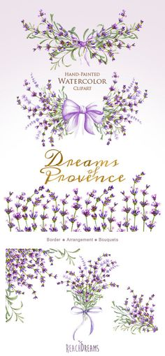 Lavender Watercolour Bouquets Clipart. DIY Wedding от ReachDreams
