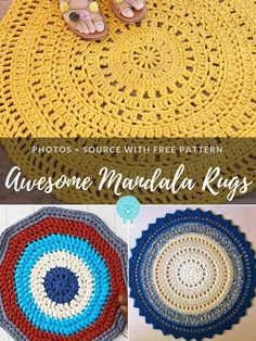 Spring always brings the urge to change something. It can be a new piece of clothing, change of hairstyle or home refurbish! But changing your entire Crochet Doily Rug, Crochet Carpet, Crochet Rug Patterns, Crochet Mandala Pattern, Crochet Home, Easy Crochet, Blanket Patterns, Crochet Gifts, Mandala Rug