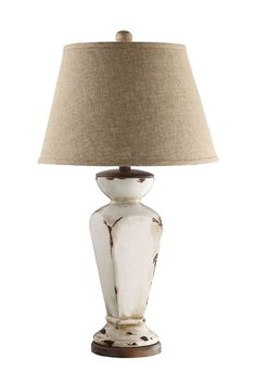 French Cottage Treasures Chunky Tapered Column Ceramic Table Lamp Desk Bedside Lamps