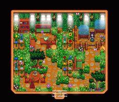 Stardew Valley > shed design > updated spring nature center > pixel > indie game Stardew Farms, Stardew Valley Farms, Stardew Valley Greenhouse, Diy Greenhouse, Stardew Valley Layout, Stardew Valley Tips, Valley Game, Stardew Valley Fanart, Farm Layout