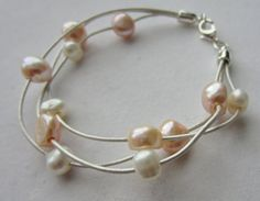 Elegant Peach Freshwater Pearl and by PearlnLeatherJewelry on Etsy, $25.00