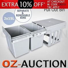 Twin Pull Out Bin Kitchen Double Dual Slide Garbage Rubbish Waste Basket 15LX2