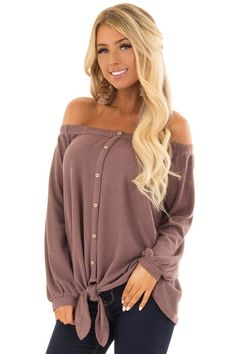 205fe3b0f99e8 Lime Lush Boutique - Dusty Mauve Off the Shoulder Top with Balloon Sleeves