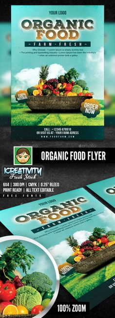 Organic #Food #Flyer - Flyers Print Templates Download here:   https://graphicriver.net/item/organic-food-flyer/20333569?ref=alena994