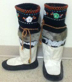 Inuit made women's sealskin kamiks by Natasha Hughes