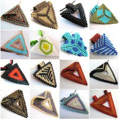 Triangles  - a collection of schemas. (Translate)  #Seed #Bead #Tutorials