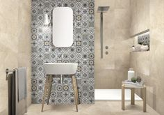 Floor tile & Wall Tile design for Bathroom with OLGA Series (OLG602GB) + HP303