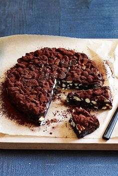 60 minutes · Vegetarian Gluten free · Serves · Australian Gourmet Traveller recipe for dark-chocolate and sour-cherry panforte. Christmas Desserts, Christmas Baking, Christmas Recipes, Pudding Au Caramel, Chocolate Delight, Chocolate Heaven, Baking Recipes, Dessert Recipes, Biscuits