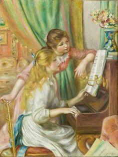 Muchachas tocando el piano.  Pierre Auguste Renoir.