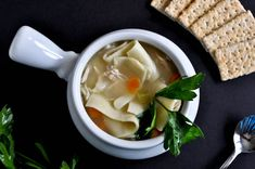 Easy Roasted Chicken Noodle Soup I howsweeteats.com