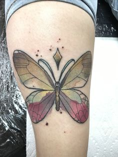 Butterfly tattoo by Max Rodríguez Zamora, Costa Rica. 🦋