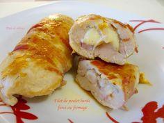 Filet de poulet bardé farci au fromage