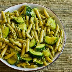 Kalyn's Kitchen: Recipe for Easy Penne Pasta with Zucchini and Basil Pesto