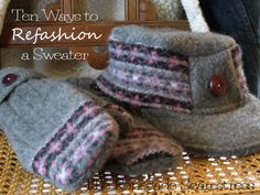 Ten Ways to Refashion a Sweater - check out the Renegade Seamstress - this lady is amazing at refashioning old garments into new beautiful, fashionable clothes. Lots of great tutorials and tips. Old Sweater, Winter Sweaters, Wool Sweaters, Sweater Mittens, Thrift Store Outfits, Pullover Upcycling, Sewing Crafts, Sewing Projects, Sewing Ideas
