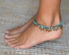 Tobilleras de turquesa con cascabeles / / pulsera de tobillo / / tobillera mujer / / joyas de pies de mujeres / / pulseras Hippie / / Oriental pulseras para el tobillo