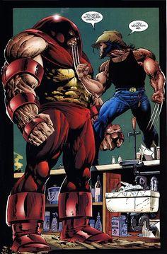 Wolverine vs Juggernaut by Adam Kubert
