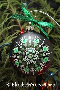 Hand Painted Mandala Christmas Ornament With Rhinestones, Christmas Glass Ornament, Mandala Christmas Ornament, Gift exchange, Mandala Art Glass Christmas Tree Ornaments, Hand Painted Ornaments, Christmas Crafts, Christmas Decorations, Mandala Art, Christmas Mandala, Dot Painting, Gift Exchange, White Glitter