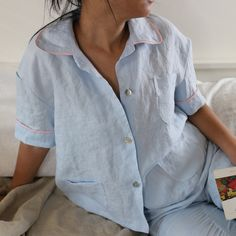 Vintage pajamas are in! You'll have sweet dreams in this striped linen pajamas bottom and top with contrasting linen piping and elegant buttons. This vintage washed linen loungewear features trimmed s