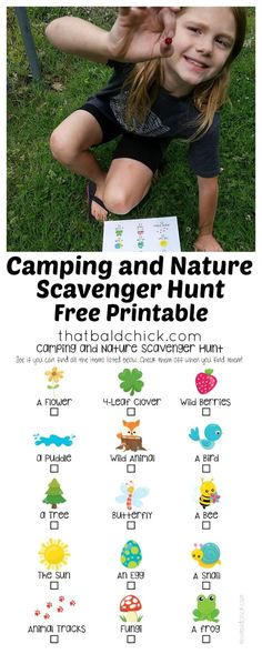 Help your kids explore the world with this #free #printable #camping and #nature #scavengerhunt! via @thatbaldchick