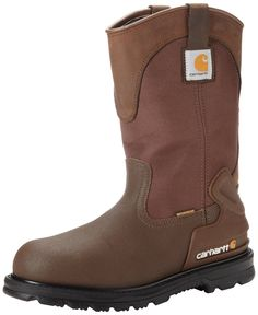Carhartt Men s Wellington Waterproof Steel Toe Leather Pull-On Work Boot  Brown Oil Tanned Leather Brown Cordura Nylon Brown Coated Leather 3e806319ee6