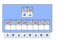 Board and tiles for the skating snowman visual perception game. By Autismespektrum.